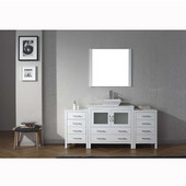 Dior 72'' Single Bathroom Vanity Set with Main Cabinet & 2 Side Cabinets in White, White Engineered Stone Top with Square Vessel Sink, Faucet Available in 2 Finishes, Mirror Included