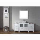 Dior 72'' Single Bathroom Vanity Set with Main Cabinet & 2 Side Cabinets in White, Italian Carrara White Marble Top with Square Vessel Sink, Faucet Available in 2 Finishes, Mirror Included