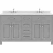 Caroline 60'' Double Bathroom Vanity Set in Cashmere Grey, Dazzle White Quartz Top with Round Sinks