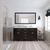 Caroline 60'' Double Bathroom Vanity Set in Espresso, Dazzle White Quartz Top with Round Sinks, Polished Chrome Faucets, Mirror Included