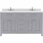Caroline 60'' Double Bathroom Vanity Set in Grey, Dazzle White Quartz Top with Round Sinks
