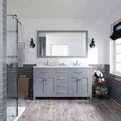 Caroline 60'' Double Bathroom Vanity Set in Grey, Dazzle White Quartz Top with Round Sinks, Mirror Included