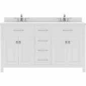 Caroline 60'' Double Bathroom Vanity Set in White, Dazzle White Quartz Top with Round Sinks
