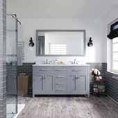 Caroline 60'' Double Bathroom Vanity Set in Grey, Dazzle White Quartz Top with Square Sinks, Polished Chrome Faucets, Mirror Included