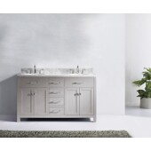 Caroline 60'' Double Bathroom Vanity Set in Cashmere Grey, Italian Carrara White Marble Top with Round Sinks