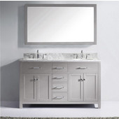Caroline 60'' Double Bathroom Vanity Set in Cashmere Grey, Italian Carrara White Marble Top with Round Sinks, Brushed Nickel Faucets, Mirror Included
