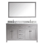 Caroline 60'' Double Bathroom Vanity Set in Cashmere Grey, Italian Carrara White Marble Top with Round Sinks, Mirror Included