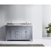 Caroline 60'' Double Bathroom Vanity Set in Grey, Italian Carrara White Marble Top with Round Sinks