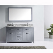 Caroline 60'' Double Bathroom Vanity Set in Grey, Italian Carrara White Marble Top with Round Sinks, Available with Optional Faucets, Mirror Included