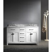 Caroline 60'' Double Bathroom Vanity Set in White, Italian Carrara White Marble Top with Round Sinks