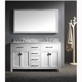 Caroline 60'' Double Bathroom Vanity Set in White, Italian Carrara White Marble Top with Round Sinks, Available with Optional Faucets, Mirror Included
