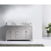 Caroline 60'' Double Bathroom Vanity Set in Cashmere Grey, Italian Carrara White Marble Top with Square Sinks