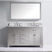 Caroline 60'' Double Bathroom Vanity Set in Cashmere Grey, Italian Carrara White Marble Top with Square Sinks, Polished Chrome Faucets, Mirror Included