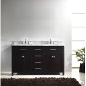 Caroline 60'' Double Bathroom Vanity Set in Espresso, Italian Carrara White Marble Top with Square Sinks