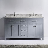 Caroline 60'' Double Bathroom Vanity Set in Grey, Italian Carrara White Marble Top with Square Sinks