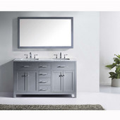 Caroline 60'' Double Bathroom Vanity Set in Grey, Italian Carrara White Marble Top with Square Sinks, Available with Optional Faucets, Mirror Included