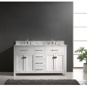 Caroline 60'' Double Bathroom Vanity Set in White, Italian Carrara White Marble Top with Square Sinks