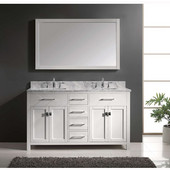 Caroline 60'' Double Bathroom Vanity Set in White, Italian Carrara White Marble Top with Square Sinks, Available with Optional Faucets, Mirror Included