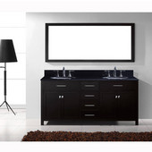 Caroline 72'' Double Bathroom Vanity Set in Espresso, Black Galaxy Granite Top with Round Sinks, Polished Chrome Faucets, Mirror Included