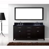 Caroline 72'' Double Bathroom Vanity Set in Espresso, Black Galaxy Granite Top with Round Sinks, Brushed Nickel Faucets, Mirror Included