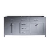 Caroline 72'' Double Sink Bathroom Vanity Cabinet, Grey