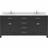 Caroline 72'' Double Bathroom Vanity Set in Espresso, Dazzle White Quartz Top with Round Sinks