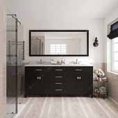 Caroline 72'' Double Bathroom Vanity Set in Espresso, Dazzle White Quartz Top with Round Sinks, Brushed Nickel Faucets, Mirror Included