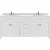 Caroline 72'' Double Bathroom Vanity Set in White, Dazzle White Quartz Top with Round Sinks