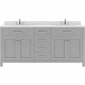 Caroline 72'' Double Bathroom Vanity Set in Cashmere Grey, Dazzle White Quartz Top with Square Sinks