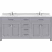 Caroline 72'' Double Bathroom Vanity Set in Grey, Dazzle White Quartz Top with Square Sinks
