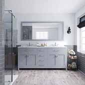 Caroline 72'' Double Bathroom Vanity Set in Grey, Dazzle White Quartz Top with Square Sinks, Polished Chrome Faucets, Mirror Included