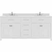 Caroline 72'' Double Bathroom Vanity Set in White, Dazzle White Quartz Top with Square Sinks