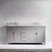 Caroline 72'' Double Bathroom Vanity Set in Cashmere Grey, Italian Carrara White Marble Top with Round Sinks, Brushed Nickel Faucets