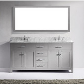 Caroline 72'' Double Bathroom Vanity Set in Cashmere Grey, Italian Carrara White Marble Top with Round Sinks, Polished Chrome Faucets, Mirror Included