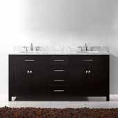 Caroline 72'' Double Bathroom Vanity Set in Espresso, Italian Carrara White Marble Top with Round Sinks