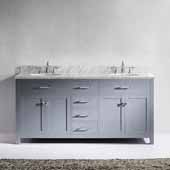 Caroline 72'' Double Bathroom Vanity Set in Grey, Italian Carrara White Marble Top with Round Sinks, Brushed Nickel Faucets
