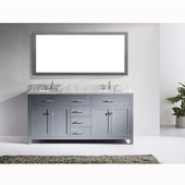 Caroline 72'' Double Bathroom Vanity Set in Grey, Italian Carrara White Marble Top with Round Sinks, Available with Optional Faucets, Mirror Included