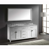 Caroline 72'' Double Bathroom Vanity Set in White, Italian Carrara White Marble Top with Round Sinks, Available with Optional Faucets, Mirror Included