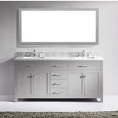 Caroline 72'' Double Bathroom Vanity Set in Cashmere Grey, Italian Carrara White Marble Top with Square Sinks, Brushed Nickel Faucets, Mirror Included