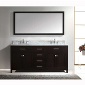 Caroline 72'' Double Bathroom Vanity Set in Espresso, Italian Carrara White Marble Top with Square Sinks, Available with Optional Faucets, Mirror Included