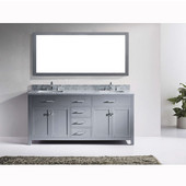Caroline 72'' Double Bathroom Vanity Set in Grey, Italian Carrara White Marble Top with Square Sinks, Available with Optional Faucets, Mirror Included
