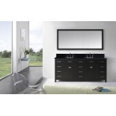 Caroline Parkway 72'' Double Bathroom Vanity Set in Espresso, Black Galaxy Granite Top with Round Sinks, Polished Chrome Faucets, Mirror Included