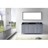 Caroline Parkway 72'' Double Bathroom Vanity Set in Grey, Black Galaxy Granite Top with Round Sinks, Polished Chrome Faucets, Mirror Included