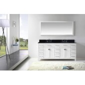 Caroline Parkway 72'' Double Bathroom Vanity Set in White, Black Galaxy Granite Top with Square Sinks, Mirror Included