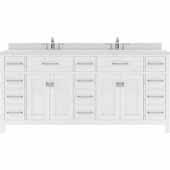 Caroline Parkway 72'' Double Bathroom Vanity Set in White, Dazzle White Quartz Top with Round Sinks