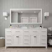 Caroline Parkway 72'' Double Bathroom Vanity Set in White, Dazzle White Quartz Top with Round Sinks, Brushed Nickel Faucets, Mirror Included