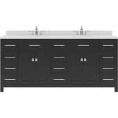Caroline Parkway 72'' Double Bathroom Vanity Set in Espresso, Dazzle White Quartz Top with Square Sinks
