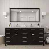 Caroline Parkway 72'' Double Bathroom Vanity Set in Espresso, Dazzle White Quartz Top with Square Sinks, Mirror Included