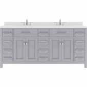 Caroline Parkway 72'' Double Bathroom Vanity Set in Grey, Dazzle White Quartz Top with Square Sinks