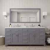 Caroline Parkway 72'' Double Bathroom Vanity Set in Grey, Dazzle White Quartz Top with Square Sinks, Brushed Nickel Faucets, Mirror Included
